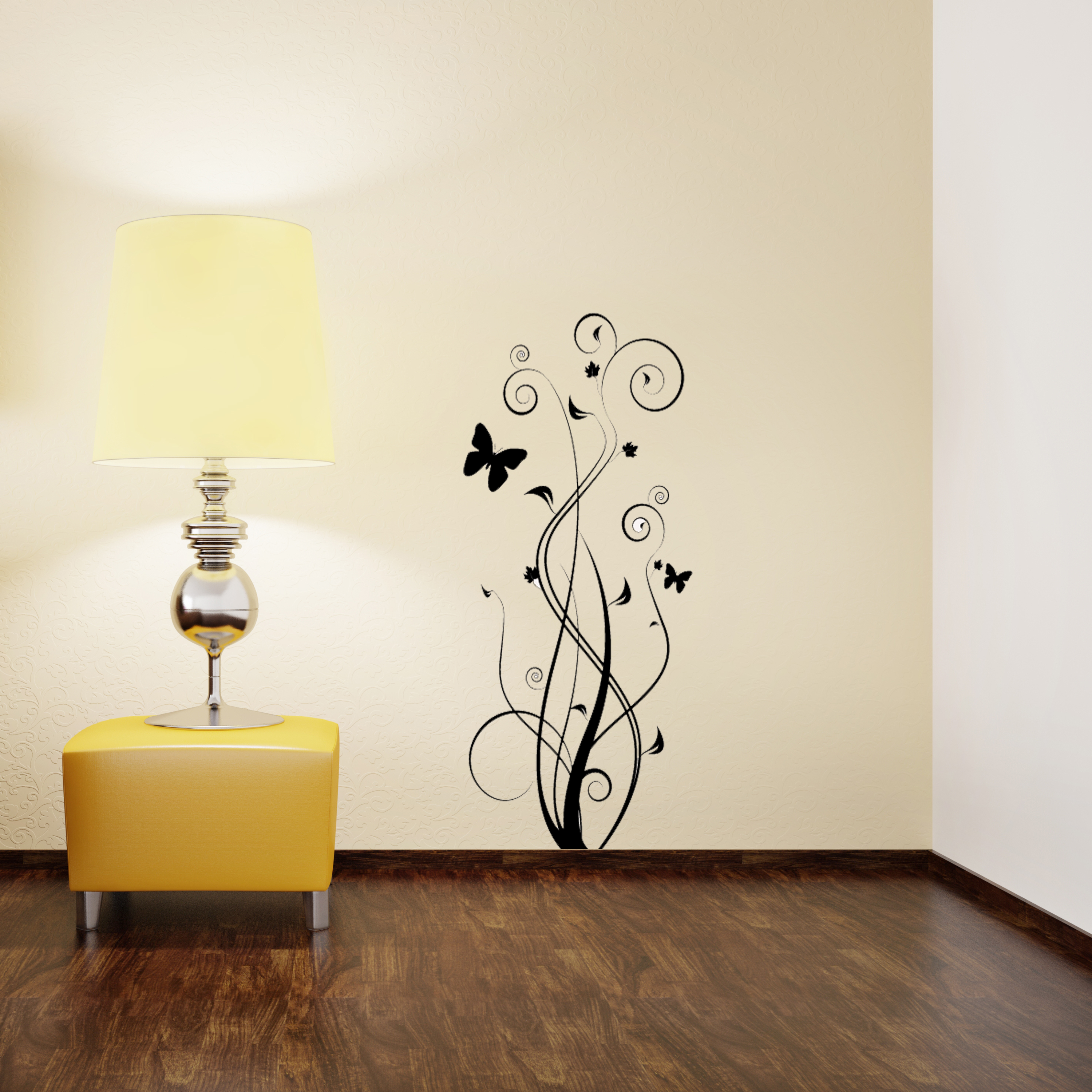 Floral Butterfly Wall Sticker Removable Wall Stickers and Wall Decals