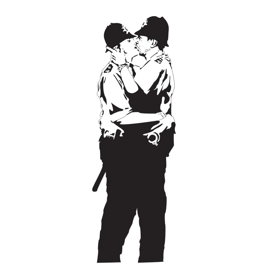 banksy kissing policeman