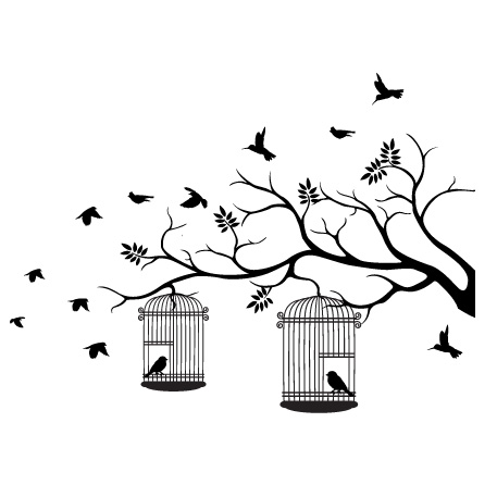 2 birdcages wall decal