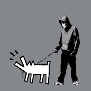 Banksy Choose your weapon dog decal