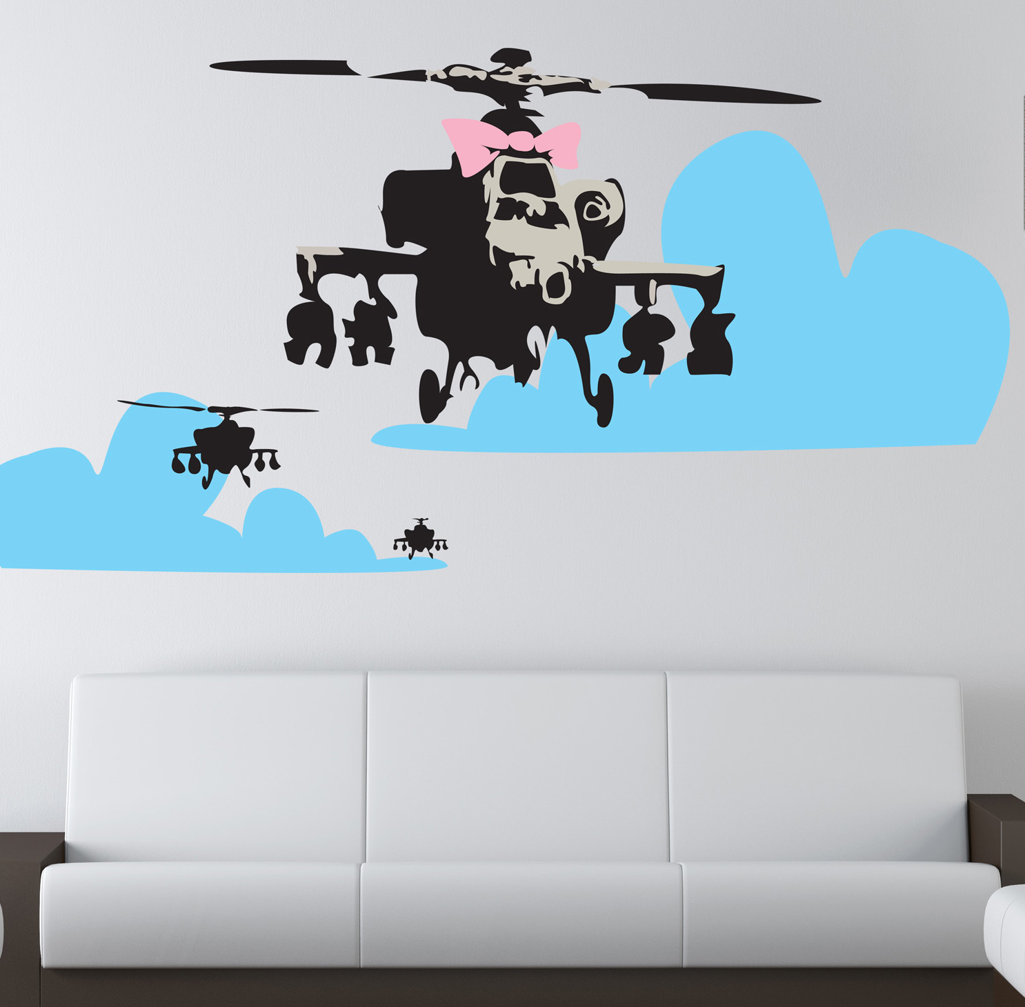 Banksy wall stickers and removable banksy wall decals banksy happy choppers wall sticker amipublicfo Gallery