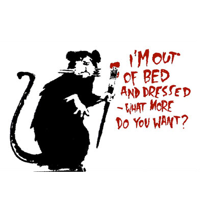 Banksy I'm out of bed-decal