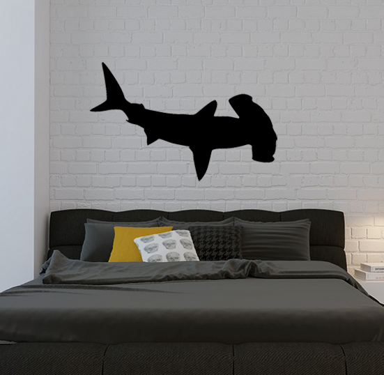 hammerhead shark decal removable wall stickers and wall decals. Black Bedroom Furniture Sets. Home Design Ideas
