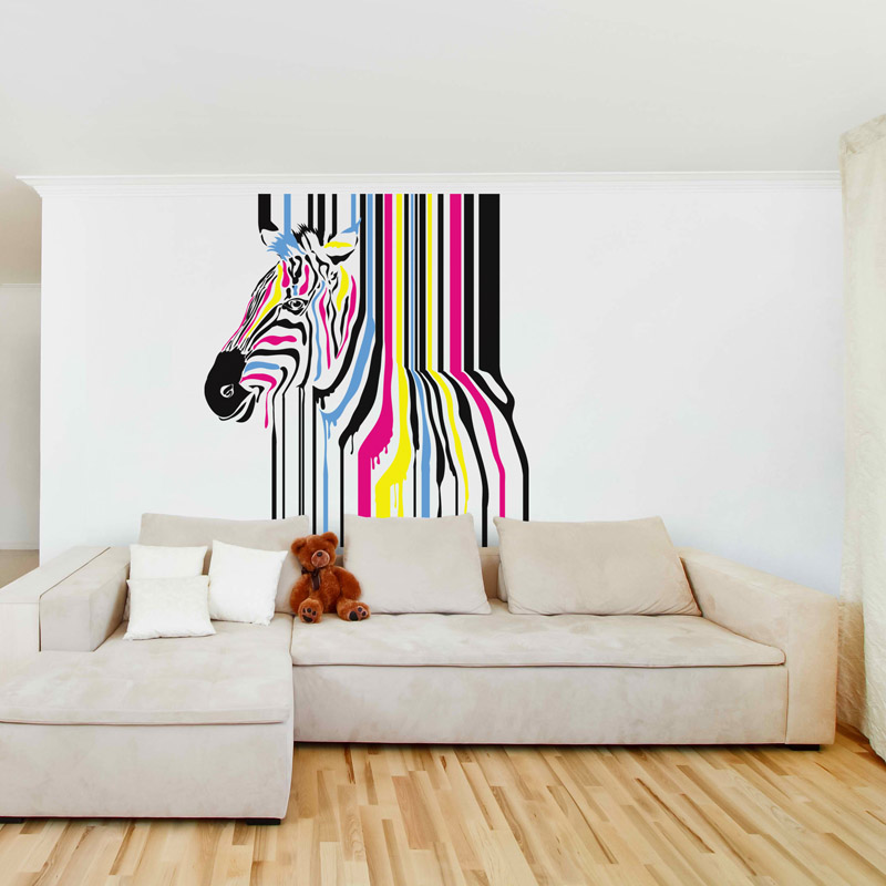 Abstract Paint Zebra Removable Wall Stickers And Wall Decals