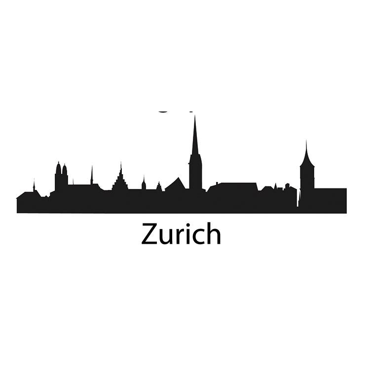 Zurich Skyline Silhouette Wall Decal
