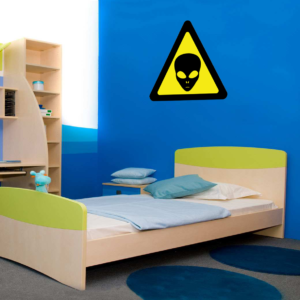 Alien Warning Sign wall sticker