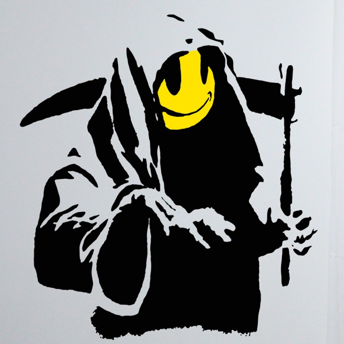Banksy Smiley Grim Reaper Sticker Art
