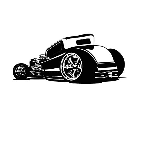 Hotrod Car Wall Decal - Removable Wall Stickers and Wall ...