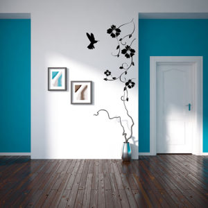hummingbird and flowers decal