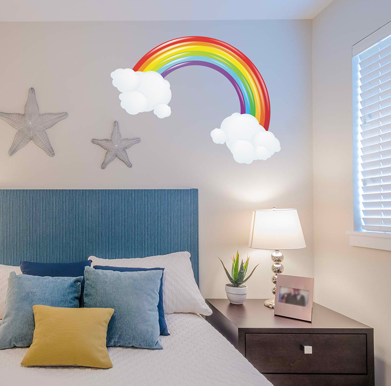 rainbow and 2 clouds wall sticker removable wall