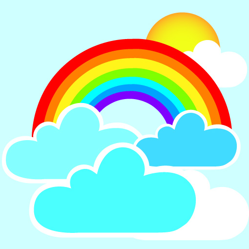 Wall Art Stickers Rainbow : Rainbow and clouds wall decal removable stickers