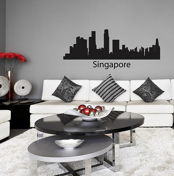singapore skyline wall sticker city scape skyline wall sticker skyline wall art