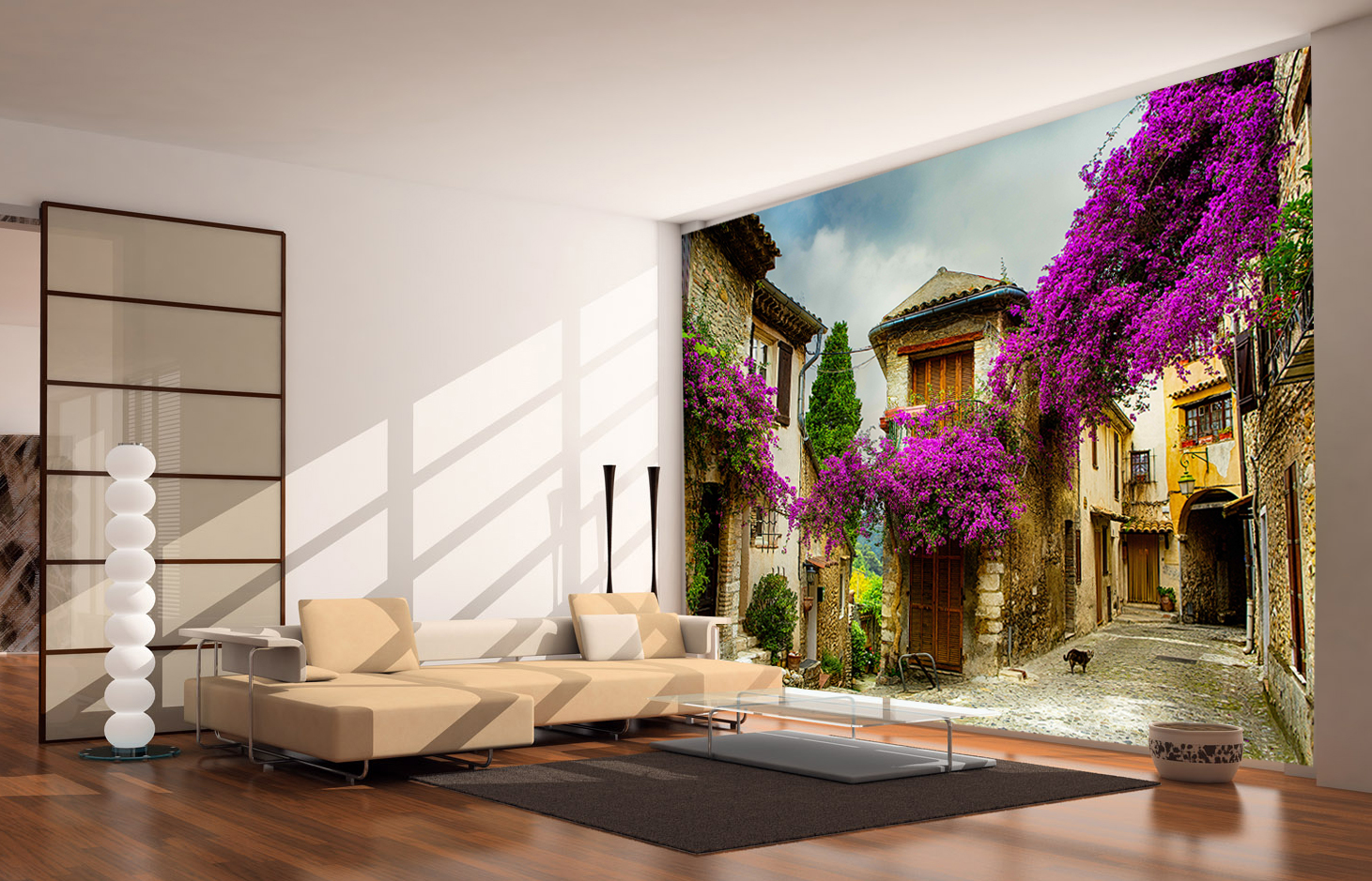 italian wallpaper mural  Italian Bougainvillea Wall Mural and Removable Sticker