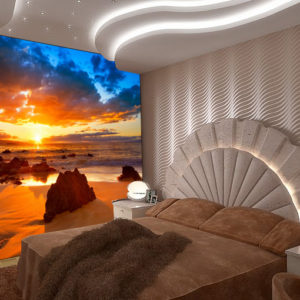 sunset sea wall mural