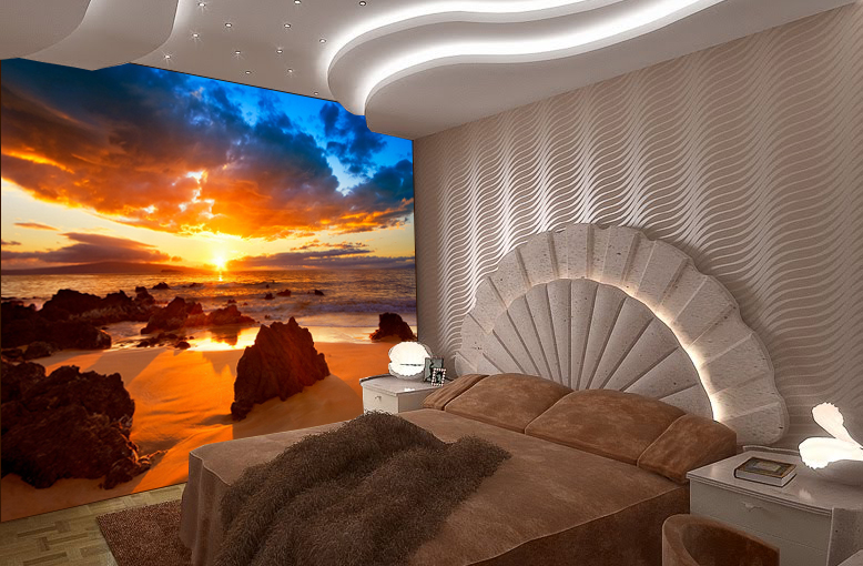 rocky beach wall mural and removable sticker